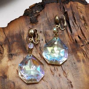 Vintage HUGE RUNWAY AB iridescent crystal drop